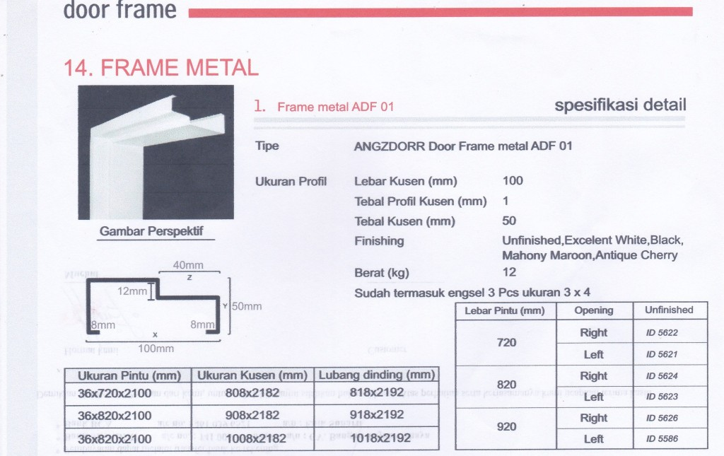 SUPPLIER PINTU HDF ANGZDOOR,Metal frame ADF 01.