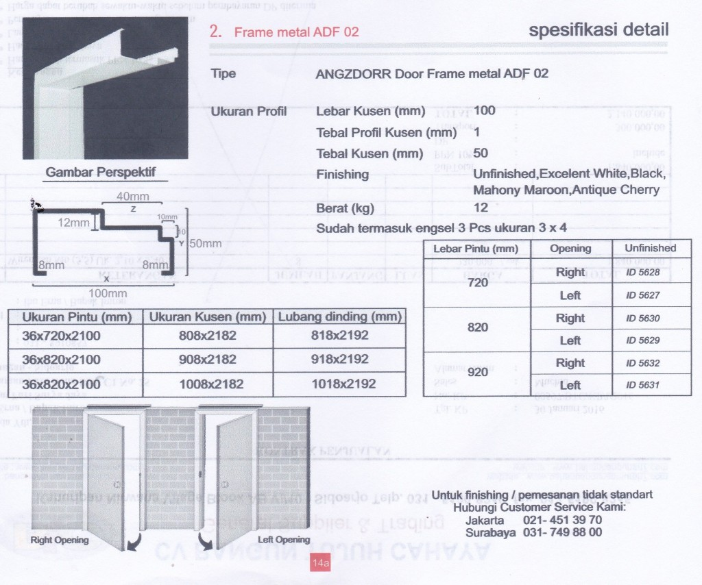 SUPPLIER PINTU HDF ANGZDOOR,Metal frame ADF 02.